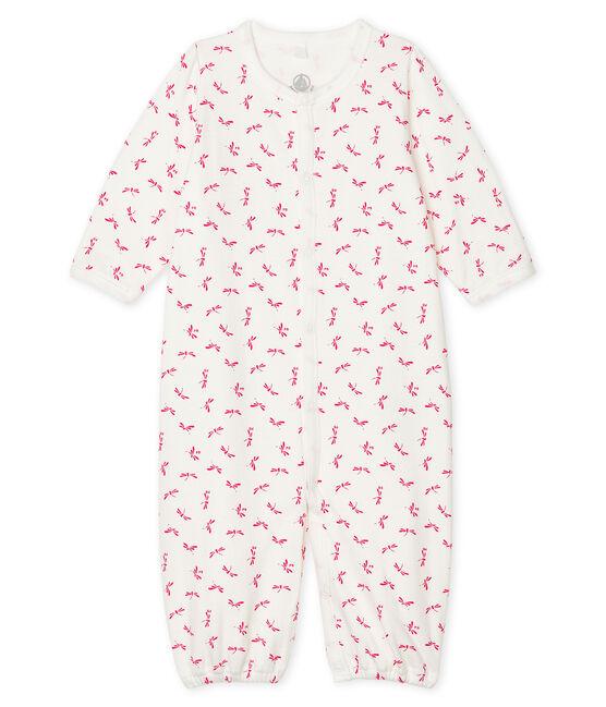 Kombi-Overall aus Rippstrick für Babys weiss Marshmallow / rosa Groseiller