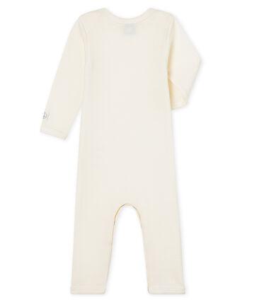 Baby-Body mit langen Beinen aus Wolle und Baumwolle beige Ecru