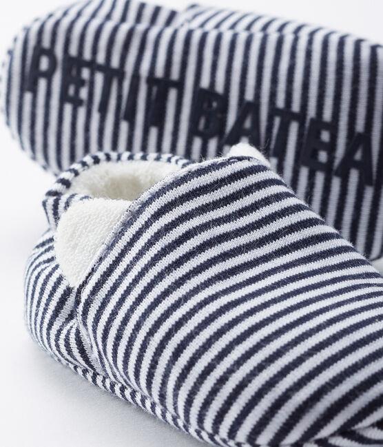 Babyschuhe aus Rippstrick blau Medieval / weiss Marshmallow