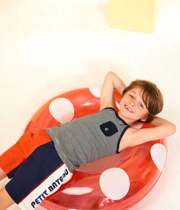 Kinder-Tanktop für Jungen blau Smoking / weiss Marshmallow