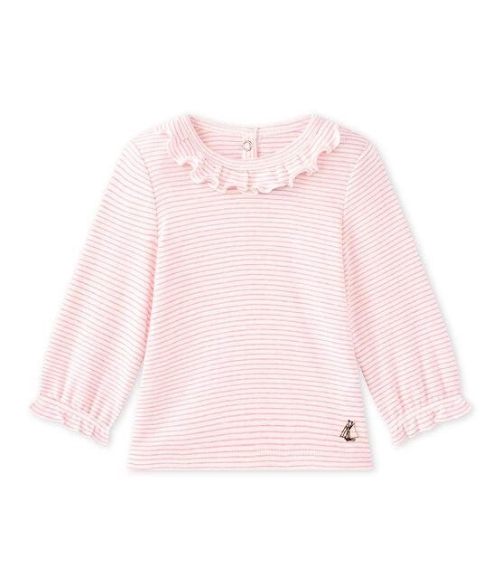 Gestreiftes Baby-Mädchen-T-Shirt weiss Marshmallow / rosa Petal