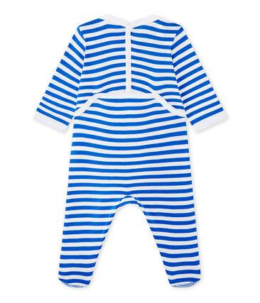 Geringelter Baby-Jungen-Strampler blau Perse / weiss Ecume