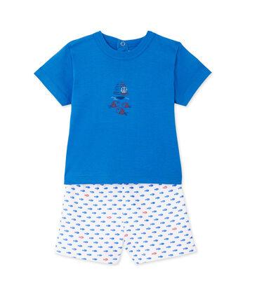 Kurzer Baby-Jungen-Schlafanzug mit Print weiss Ecume / blau Delphinium