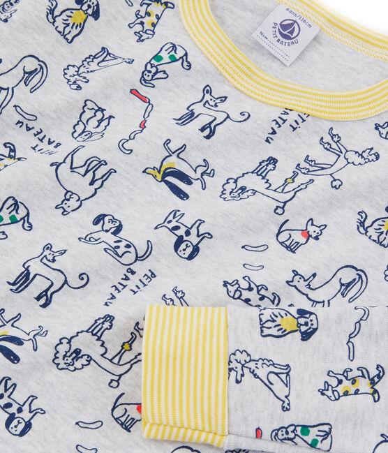 Sehr eng anliegender Rippstrick-Pyjama für kleine Jungen grau Poussiere / weiss Multico