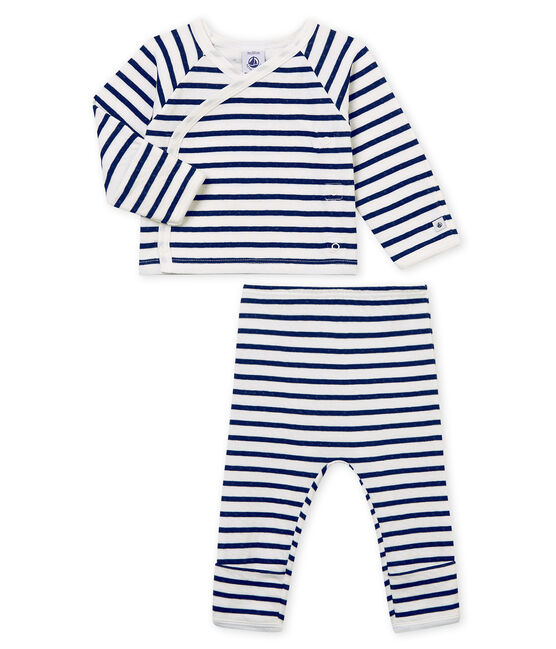 Unisex Baby Schlafanzug aus gedoppeltem Jersey weiss Marshmallow / blau Smoking
