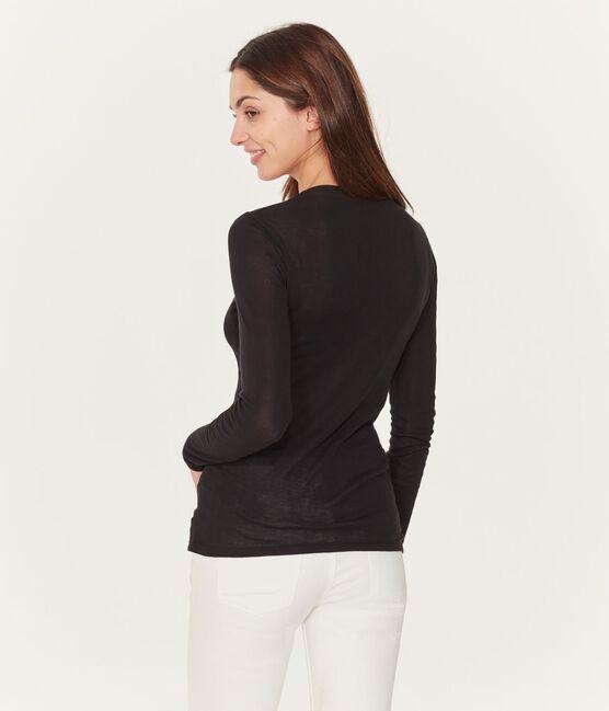 Langärmliges T-Shirt mit Tänzerinnenkragen für Damen schwarz Noir