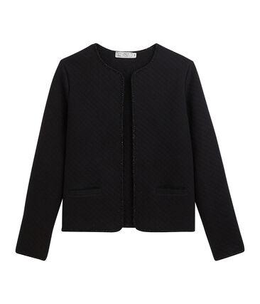 Cardigan-Jacke aus Doppeljersey für Damen schwarz Noir / gelb Dore