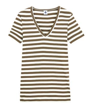Gestreiftes Damen-T-Shirt mit V-Ausschnitt aus Original-Rippstrick braun Shitake / weiss Marshmallow