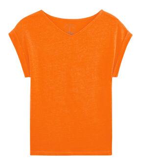 T-Shirt aus Leinen, Damen orange Tiger