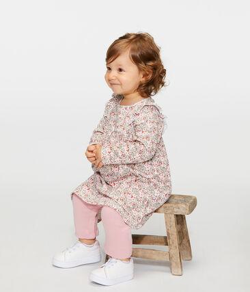 Gemustertes Baby-Leggingkleid für Mädchen weiss Marshmallow / weiss Multico