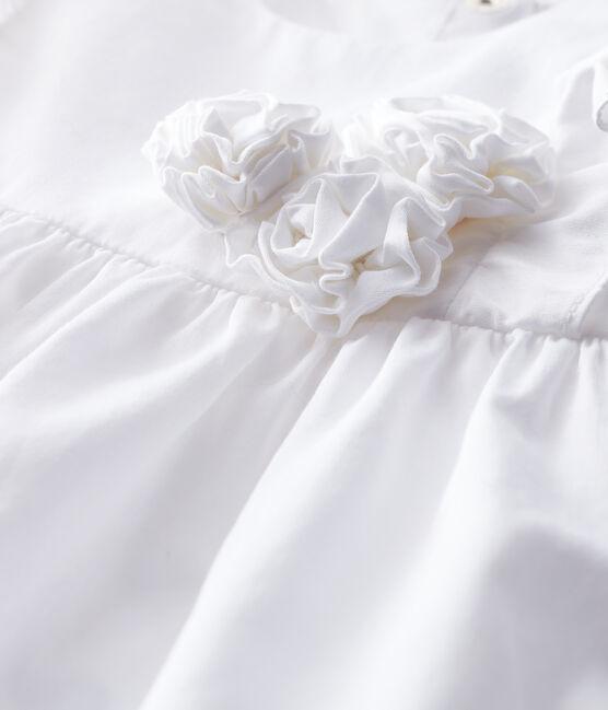 Kurzärmeliges Baby-Festtagskleid für Mädchen weiss Ecume