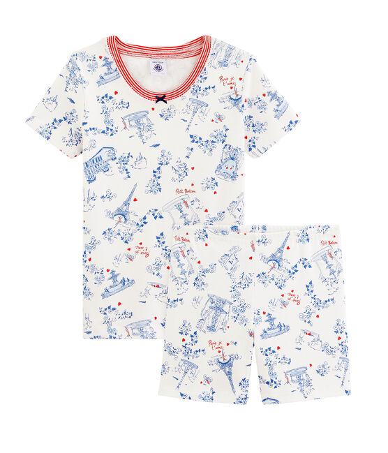 Kurzpyjama für kleine Mädchen weiss Marshmallow / weiss Multico
