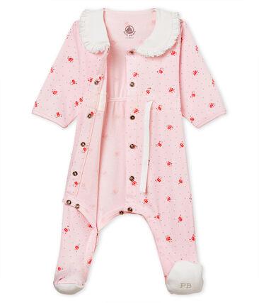 Gemusterter baby-strampler mädchen 1x1-gerippt rosa Vienne / weiss Multico