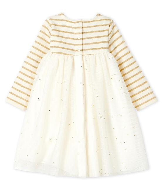 Langärmeliges Babykleid aus Materialmix für Mädchen beige Coquille / gelb Lurex Dore