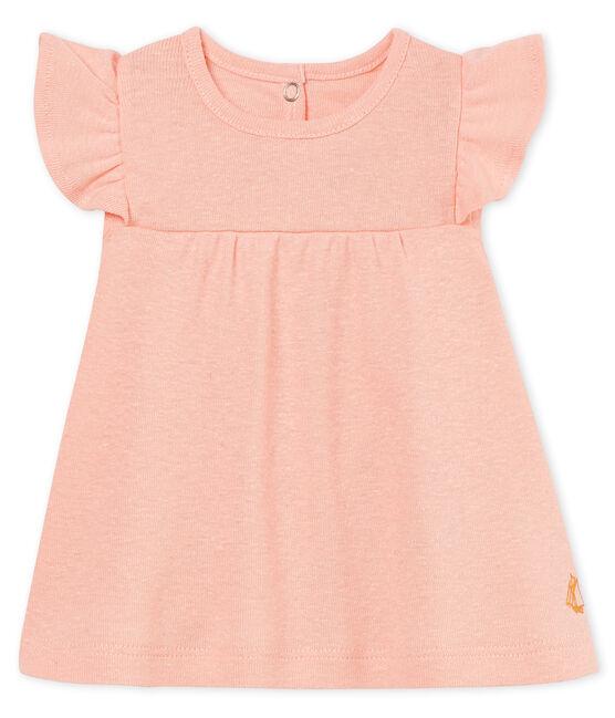 Kurzärmelige baby-bluse aus baumwolle/leinen mädchen rosa Rosako