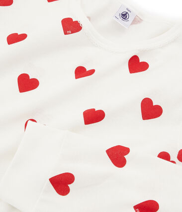 Rippstrick-Pyjama für Mädchen - Jungen weiss Marshmallow / rot Terkuit