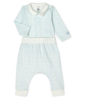 2-teiliges Baby-Set aus Rippstrick für Jungen weiss Marshmallow / blau Jasmin