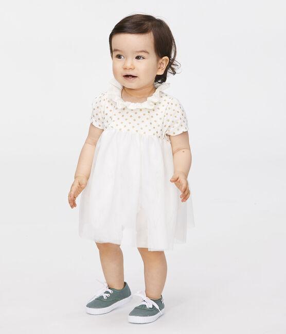 Baby-Bodykleid aus Baumwollleinen für Mädchen weiss Marshmallow / gelb Or