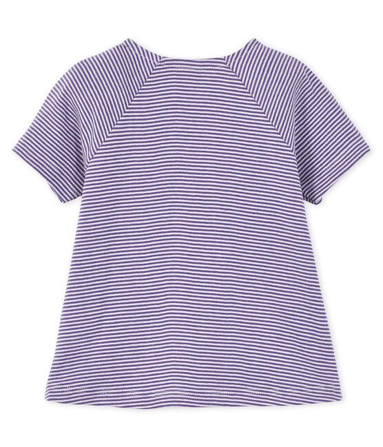 Kurzärmliges Baby-T-Shirt für Mädchen violett Real / weiss Marshmallow