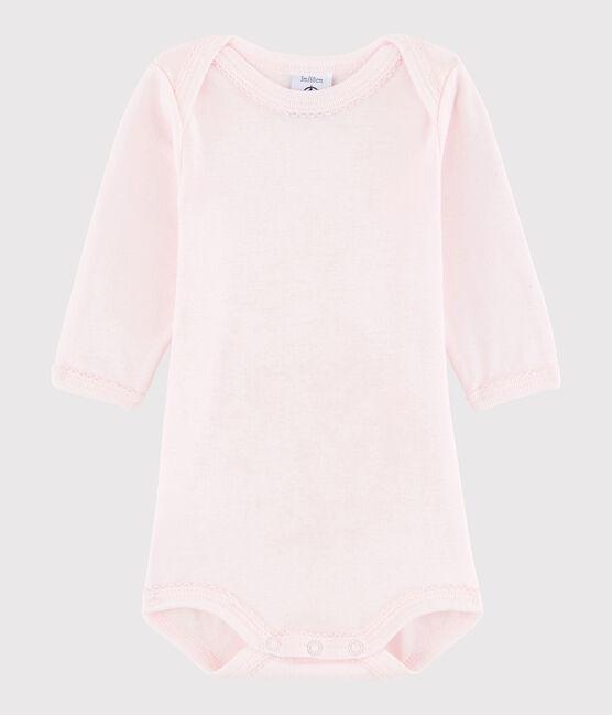 Langärmeliger Baby-Body Mädchen rosa Vienne