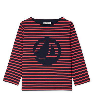 Streifenshirt für Damen blau Smoking / rot Signal