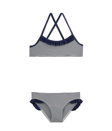 Bikini für Mädchen blau Abysse / weiss Lait