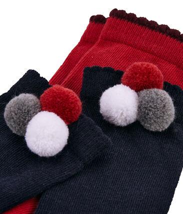 Einfarbige Socken mit Bommel im 2er-Set