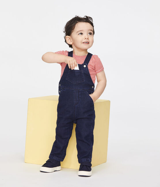 Lange Baby-Latzhose, Unisex, im Denim-Look. blau Jean