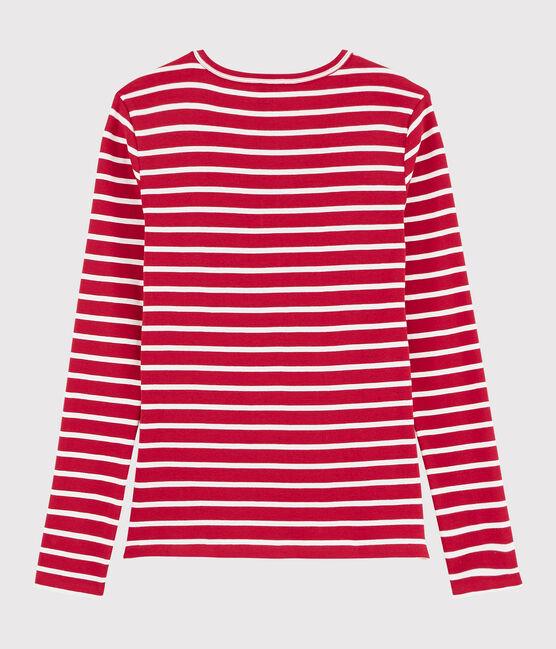 Damen-T-Shirt mit V-Ausschnitt rot Terkuit / weiss Marshmallow