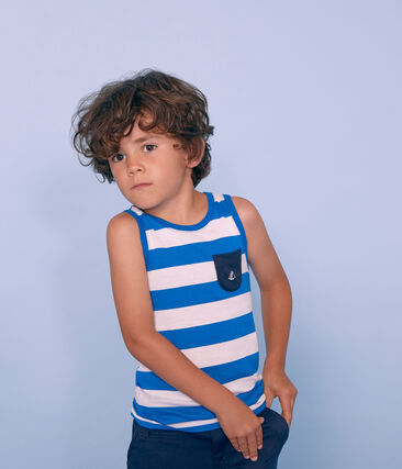 Kinder-Tanktop Jungen blau Riyadh / weiss Marshmallow