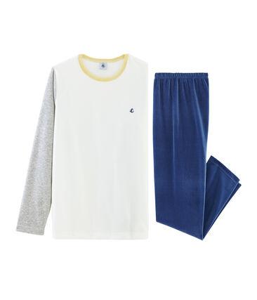 Samt-Pyjama für Jungen blau Medieval / grau Poussiere