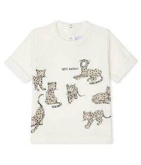 Kurzärmeliges Baby-T-Shirt für Jungen weiss Marshmallow