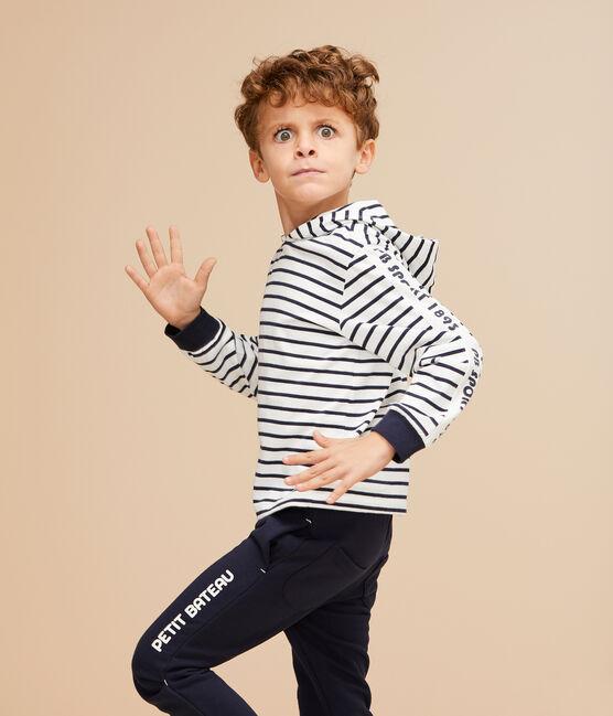 Kinder-T-Shirt mit Kapuze für Jungen weiss Marshmallow / blau Smoking