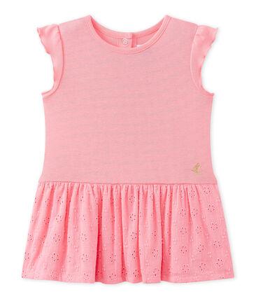 Baby-Mädchen-Kleid mit Schmetterlingsärmeln rosa Petal