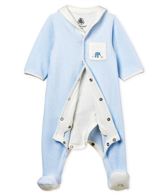 Baby-bodyjama jungen aus samt mit ringelstreifen blau Fraicheur / weiss Ecume