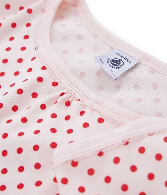 Rippstrick-Nachthemd für kleine Mädchen rosa Fleur / rosa Impatience