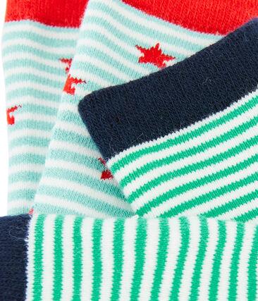 Set aus zwei Paar Kinderstrümpfen für Jungen blau Marshmallow:smoking / weiss Marshmallo