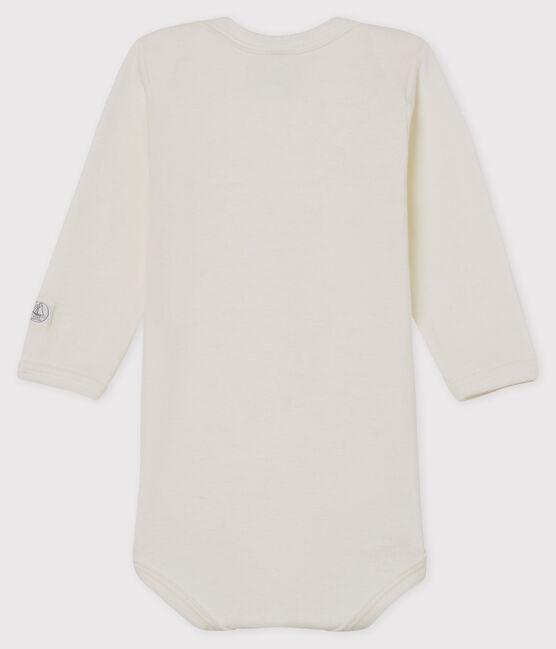 Langärmliger, weißer Baby-Body aus Wolle und Baumwolle weiss Marshmallow