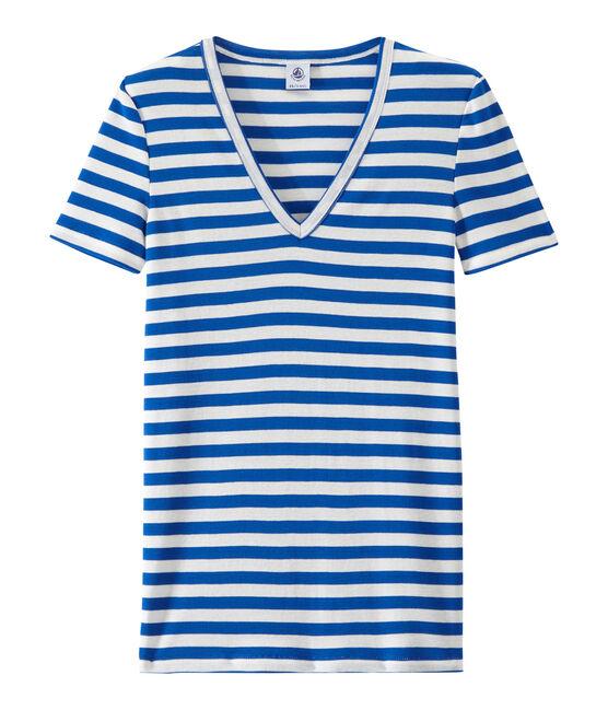 Gestreiftes Damen-T-Shirt mit V-Ausschnitt aus Original-Rippstrick blau Perse / weiss Marshmallow