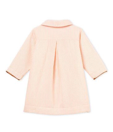 Gestreifter baby-mantel mädchen weiss Marshmallow / rosa Rosako