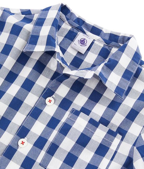 Twill-Pyjama für kleine Jungen blau Medieval / weiss Marshmallow