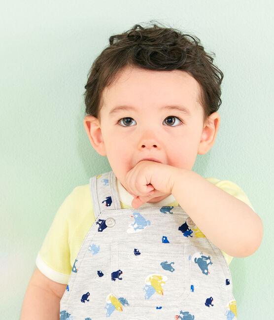 Gemusterte Baby-Latzhose für Jungen grau Beluga / weiss Multico