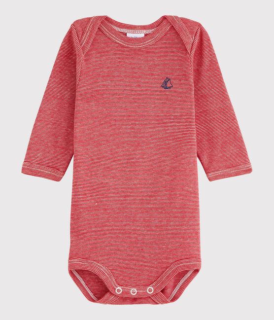 Langärmeliger Baby-Body Mädchen/Jungen rot Terkuit / weiss Marshmallow