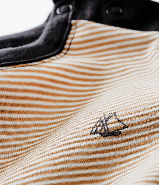 Baby Jungen tee-shirtmit Milleraies-Ringelstreifen braun Brindille / weiss Marshmallow