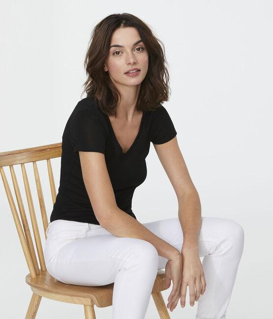 Damen-T-Shirt, leichter Rippstrick schwarz Noir