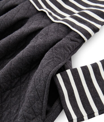 Langärmliges Kleid aus Materialmix für Damen schwarz City / beige Coquille