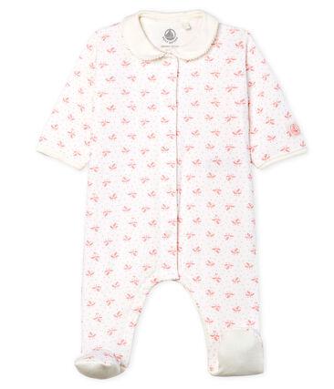 Baby Strampler aus Doppeljersey für Mädchen weiss Marshmallow / rosa Gretel