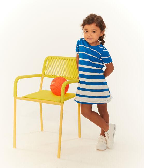 Gestreiftes kurzärmeliges baby-kleid mädchen blau Riyadh / weiss Marshmallow
