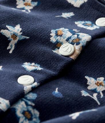 Cardigan für Baby Mädchen aus bedrucktem Molton blau Smoking / weiss Multico