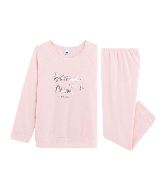 Pyjama aus aufgerautem, extra warmem Bouclé-Frottier für kleine Mädchen rosa Minois
